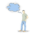 Skech of Young Man with a empty speech bubble on vector image vector image
