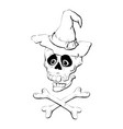 skull with bones sign vector image vector image