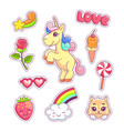 stickers set pop art style with unicorn vector image vector image