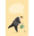 Stylized man watering a plant vector image vector image