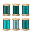 Thread Spool Set Bright Old Wooden Bobb vector image vector image