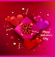 valentines day symbol with heart shape and gift vector image vector image