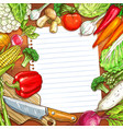 vegetables and blank paper on wooden background vector image vector image
