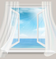 view through a window with curtains to sea vector image vector image