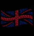 waving uk flag mosaic of triangle flag icons vector image