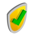 Yellow security shield with green tick icon vector image