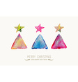 Merry Christmas pine tree watercolor greeting card vector image