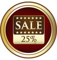 twenty five percent sale icon vector image