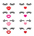 eyelashes and lips icons pretty girl vector image