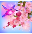 greeting card with branch of flowers and vector image