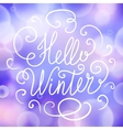 Hello winter hand lettering on seamless vector image