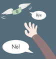 Money flying away from hand vector image