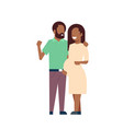 african pregnant smiling wife happy husband full vector image vector image