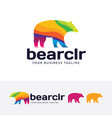 bear color logo design vector image vector image