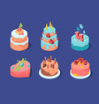 birthday cakes colored celebration patisserie pie vector image