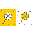 black four leaf clover icon isolated on yellow and vector image vector image