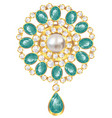 brooch with pearl and emerald vector image