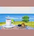coffee and oriental sweets on summer sea vector image vector image