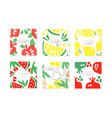 collection cards with juicy fruits healthy vector image
