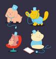 cute doctor pets cartoon characters set vector image vector image
