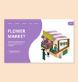 flower market landing page template isometric vector image