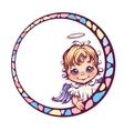 frame with cute angel vector image vector image