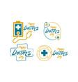 happy doctors day template set vector image