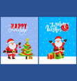 happy holidays and merry christmas 2019 posters vector image vector image