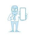 happy man holds a smartphone in his hand and shows vector image vector image