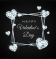 happy valentines day greeting card diamond heart vector image