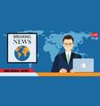 headline or breaking news man tv reporter vector image vector image