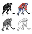 hockey player in full gear with a stick playing vector image vector image