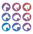 horse heads silhouettes icons set vector image vector image