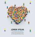 large group of people in the shape of heart sign vector image vector image