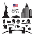 new york landmarks objects silhouette vector image vector image