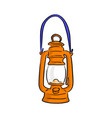 orange vintage oil lamp sketch vector image