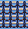 owl stylized art seemless pattern blue colors vector image vector image