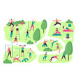 people do sports in park outdoor sport activities vector image vector image