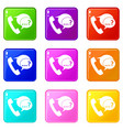 phone sign and support speech bubbles set 9 vector image vector image