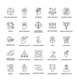 project management line icons set vector image