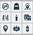 ramadan icons set with ramadan hajj people and vector image vector image