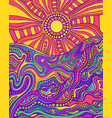 retro hippie style psychedelic landscape with sun vector image