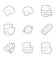 safe storage icons set outline style vector image