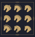 set horse heads vector image vector image