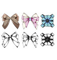 set of beautiful graphic bows hand drawn bows vector image