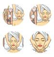 set of female avatars in pop art style vector image vector image