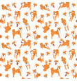 shiba inu seamless pattern background vector image vector image