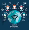 social network global world internet media vector image