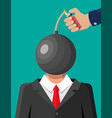 stressed out businessman with head bomb vector image