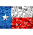 texas made of hearts background vector image vector image